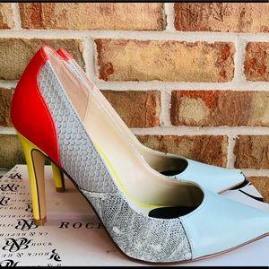 NIB Neon Colorful Snake Print Stiletto High Heels